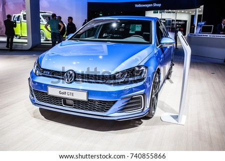 Frankfurt, Germany, September 13, 2017: metallic blue Volkswagen VW Golf GTE at 67th International Motor Show (IAA)