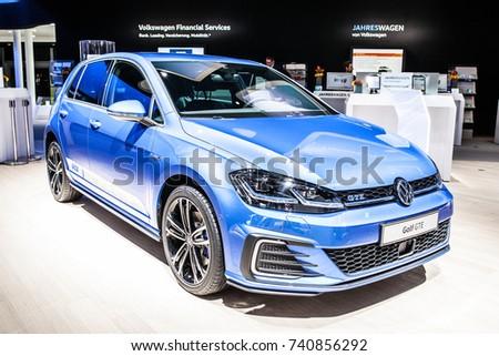 Frankfurt, Germany, September 13, 2017: metallic blue Volkswagen VW Golf GTE at 67th International Motor Show (IAA)