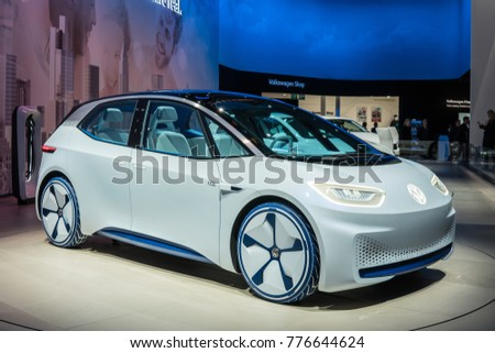Frankfurt, Germany, September 13, 2017: metallic white Volkswagen VW I.D. Concept autonomous electric car ID at 67th International Motor Show (IAA)