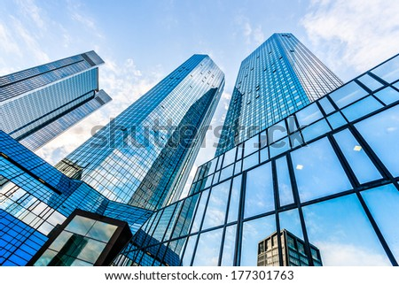 FRANKFURT - JULY 4: Bottom view of Deutsche Bank Twin Towers on July 4, 2013 in the central business district of Frankfurt am Main, Germany. Frankfurt is the largest financial centre in Europe. #177301763