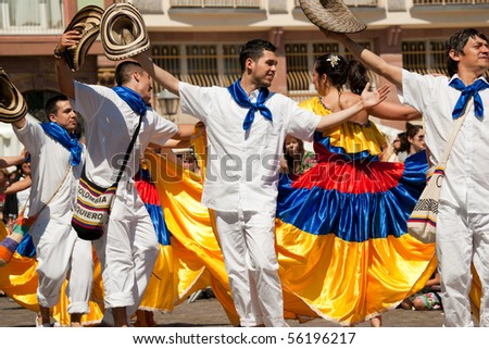 FRANKFURT - JUNE 26. Colombian traditional dance at the Parade der Kulturen. June 26, 2010 in Frankfurt, Germany.