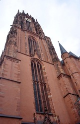 Frankfurt Main, Germany architecture of the cathedral St Bartholomew with its towers