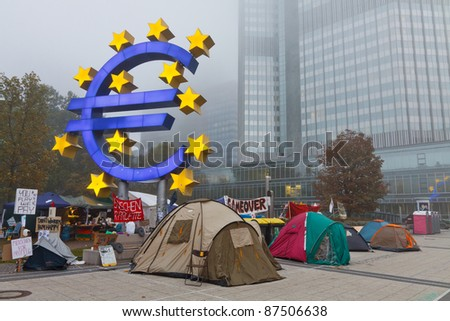 FRANKFURT - OCT 21: The protest camp of the Occupy Frankfurt movement at the European Central Bank in Frankfurt, Germany, on October 21, 2011. It is part of the global Occupy Wall Street movement.