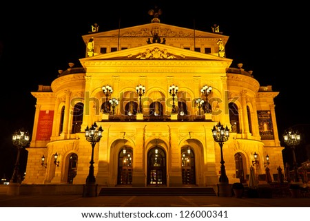 FRANKFURT - OCTOBER 21: Alte Oper at night on October 21, 2011, in Frankfurt. Alte Oper is a concert hall built in the 1970s on the site of and resembling the old Opera House destroyed in WWII.