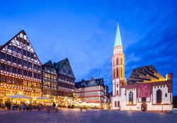 Frankfurt old city Altstadt and Roemerberg at night