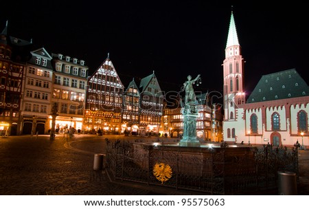 Frankfurt old city. Lady justice on the Roemer place