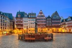 Frankfurt Old town square romerberg with Justitia statue in Frankfurt Germany.