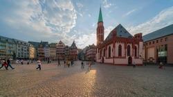 Frankfurt Romerberg square, old town at dawn, sunrise