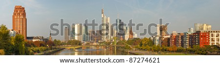 Frankfurt's Skyline XXL Panorama. Frankfurt is the financial center of Germany. All major German banks are headquartered in the city.