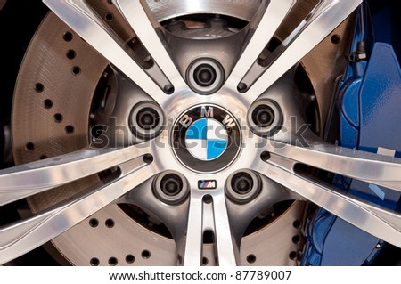 FRANKFURT - SEP 25: Aluminium Wheel of a BMW M5 Sport Car presented at the 64th Internationale Automobil Ausstellung (IAA) on September 25, 2011 in Frankfurt, Germany.