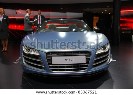 FRANKFURT - SEP 13: Audi R8 GT Spider shown at the 64th IAA (Internationale Automobil Ausstellung) on September 13, 2011 in Frankfurt, Germany. - stock photo