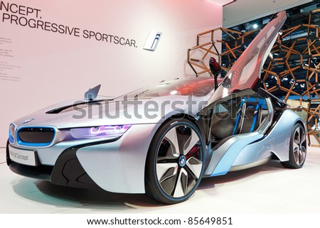 FRANKFURT - SEP 24: BMW i8 Concept car shown at the 64th IAA Motor Show (Internationale Automobil-Ausstellung) in Frankfurt, Germany, on September 24, 2011.
