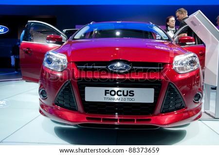 FRANKFURT - SEP 25:  Ford Focus Titanium 2.0 TDCI presented at the 64th Internationale Automobil Ausstellung (IAA) on September 25, 2011 in Frankfurt, Germany.