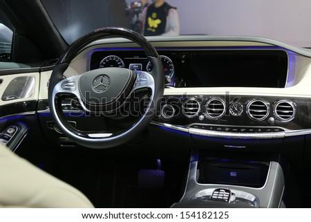 FRANKFURT - SEPT 10: Cockpit of Mercedes-Benz S-Class shown at the 65th IAA (Internationale Automobil Ausstellung) on September 10, 2013 in Frankfurt, Germany. #154182125