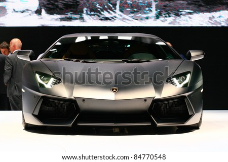 FRANKFURT - SEPT 14: Lamborghini Aventador LP 700-4 shown at the 64th IAA (Internationale Automobil Ausstellung) on September 14, 2011 in Frankfurt, Germany.