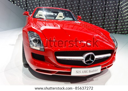 FRANKFURT - SEPT 24: Mercedes-Benz SLS AMG Roadster shown at the 64th IAA Motor Show (Internationale Automobil-Ausstellung) in Frankfurt, Germany, on September 24, 2011.