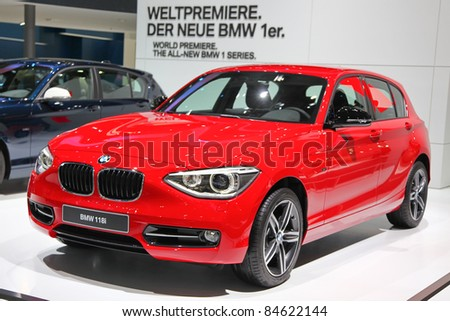 FRANKFURT - SEPT 13: The new BMW 1er series presented as world premiere at the 64th IAA (Internationale Automobil Ausstellung) on September 13, 2011 in Frankfurt, Germany