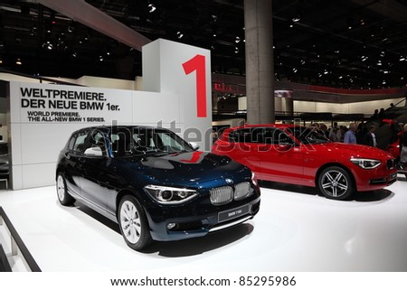 FRANKFURT - SEPT 24: The new BMW 1 series on display at the 64th IAA (Internationale Automobil Ausstellung) on September 24, 2011 in Frankfurt, Germany