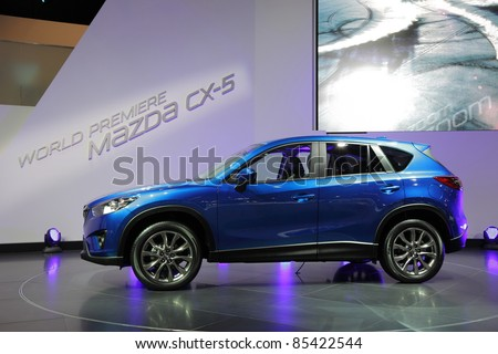 FRANKFURT - SEPT 24: The New Mazda CX-5 SUV at the 64th IAA (Internationale Automobil Ausstellung) on September 24, 2011 in Frankfurt, Germany