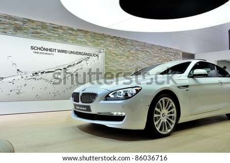 FRANKFURT - SEPTEMBER 18: BMW 650i, car shown at the 64th Internationale Automobil Ausstellung (IAA) on September 18, 2011 in Frankfurt, Germany.