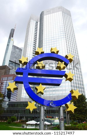 FRANKFURT - SEPTEMBER 25: The Famous Big Euro Sign at the European Central Bank. The bank was established by the Treaty of Amsterdam in 1998; September 25, 2012 in Frankfurt, Germany.