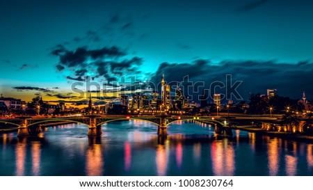 Frankfurt skline night evening blue hour