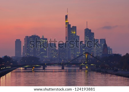 Frankfurt Skyline at Twilight, Germany.