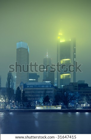 Frankfurt skyline in wintery fog