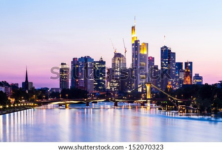 Frankfurt skyline panorama at sunset