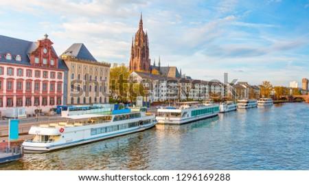 Frankfurter Dom Cathedral in Roemerberg Frankfurt am Main and Main river #1296169288