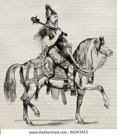 Frankish knight old illustration. Created by Montfaucon, published on Magasin Pittoresque, Paris, 1842 - stock photo