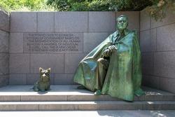 Franklin Delano Roosevelt Memorial with dog in Washington DC USA