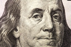 Franklin on one hundred dollar bill