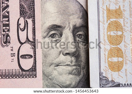 Franklin president portrait in dollar numbers close up view