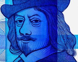 Frans Hals, Dutch painter. Portrait from Netherlands 10 Dutch Guilder 1968 Banknotes.