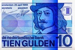 Frans Hals, Dutch painter. Portrait from Netherlands 10 Dutch Guilder 1968 Banknotes. An Old paper banknote, vintage retro. Famous ancient Banknotes. Collection.