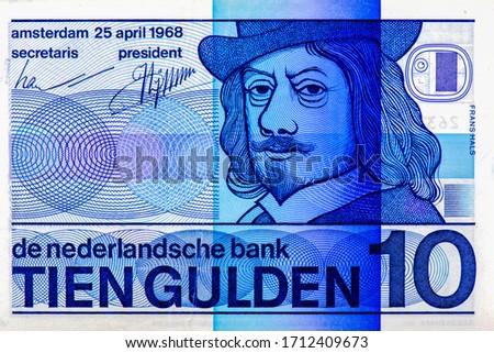 Frans Hals, Dutch painter. Portrait from Netherlands 10 Dutch Guilder 1968 Banknotes. An Old paper banknote, vintage retro. Famous ancient Banknotes. Collection. Stok fotoğraf ©