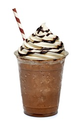 Frappuccino in take away cup with straw isolated on white background