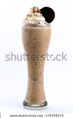 frappuccino topping with whip cream and cookie #134398676