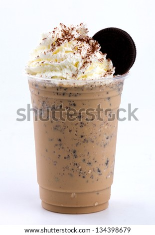 frappuccino topping with whip cream and cookie