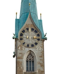 Fraumuenster church tower isolated on white background. The church clock shows exactly three o clock. City of Zuerich, Switzerland.