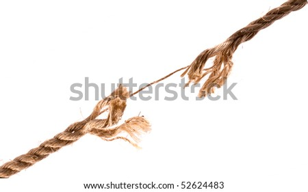 Fraying Rope showing individual Strands on white background