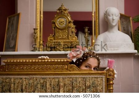 Freack girl in retro luxury interior
