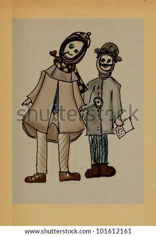 Freaks funny like Holmes and Watson - stock photo