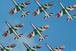 frecce tricolori jet aerobatics in sky