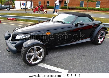 FREDERICK, MD- SEPTEMBER 16: 1998 Black Convertible Plymouth Prowler on Sept. 16, 2012 in Frederick , MD USA. Alzheimer's Association Benefit Car Show at Motor Vehicle Administration in Maryland.