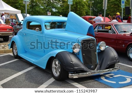 FREDERICK, MD- SEPTEMBER 16: 1936 Blue Classic Chevrolet on Sept. 16, 2012 in Frederick , MD USA. Alzheimer's Association Benefit Car Show at Motor Vehicle Administration in Maryland.