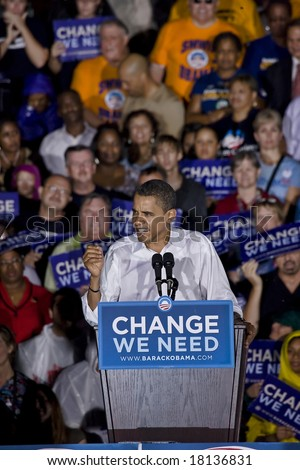FREDERICKSBURG,VA - SEPTEMBER 27: Democratic presidential candidate Barack Obama slams Republican presidential candidate John McCain is out of touch with middle-class Americans at a rally in Virginia. - stock photo