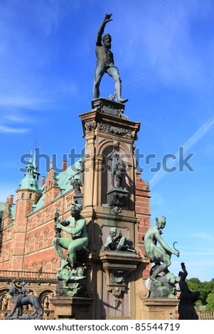 Frederiksborg castle fountain details, the largest Renaissance palace in Denmark and Scandinavia
