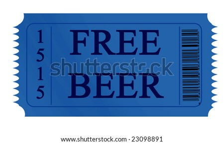 free beer ticket on a white background